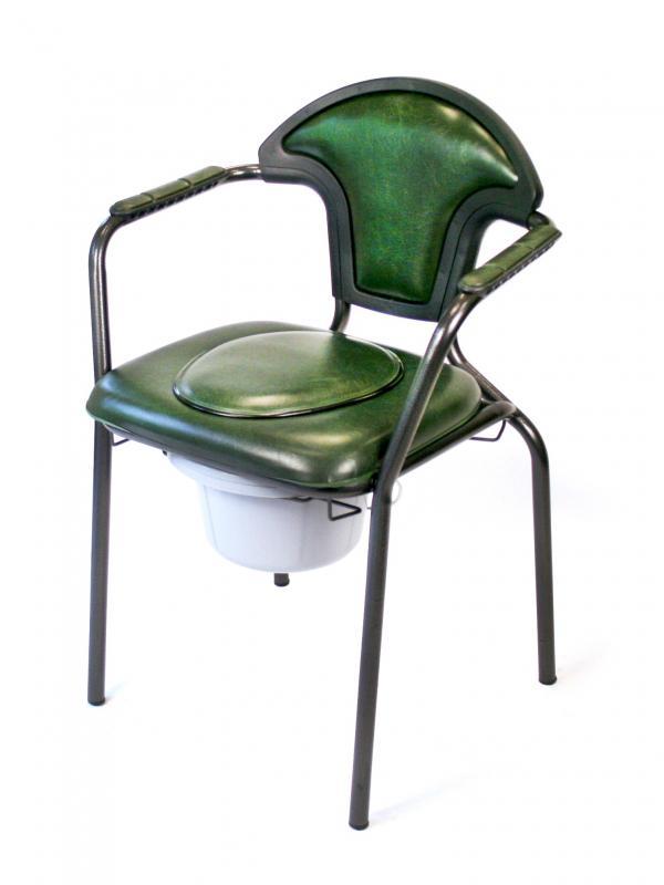 Chaise hygi nique fixe avec tampon vinyl vert fonc chaises de toilette pour la chambre - Chaises percees de toilette ...