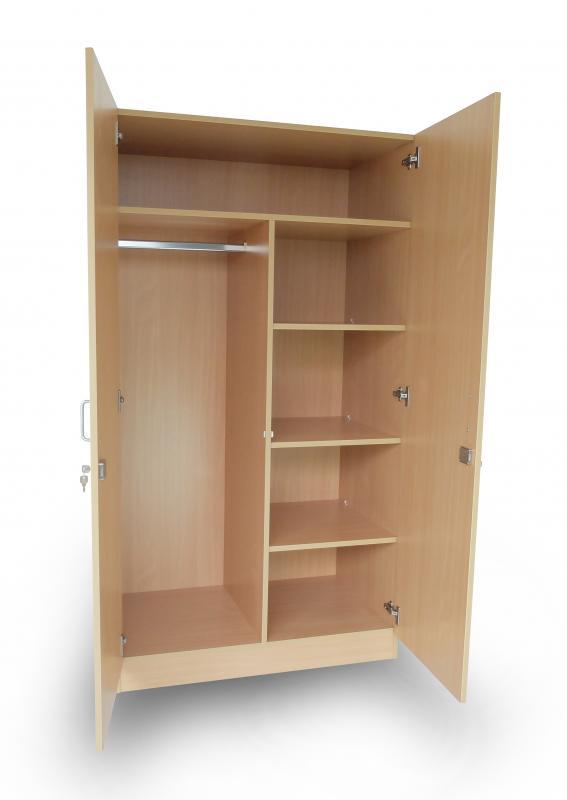 garde robe panneaux h tre clair 2 portes 100 x 60 x 180 cm meuble pour la chambre gohy s a. Black Bedroom Furniture Sets. Home Design Ideas